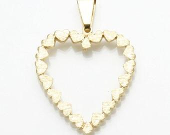 Vintage 14k yellow gold large heart pendant outline matte Love Estate