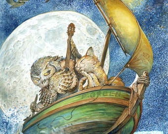 The Owl and the Pussycat (print) - romance, love, wedding, cat, serenade, moonlight, fairy tale, artwork, illustration
