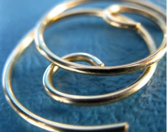 Free Shipping Item. Small Hoop Earrings. MINI. Spiral Swirl Hoops. Smooth Surface. 18 gauge solid brass wire