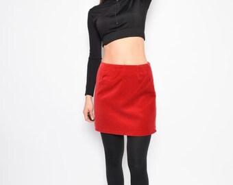 Vintage 90's Red Velvet Mini Skirt / Red Mini Skirt - Size Small