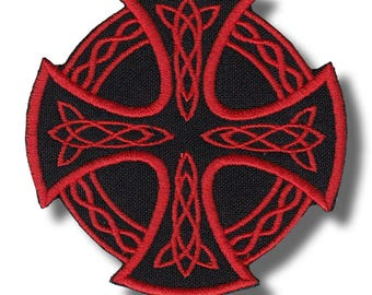 Celtic cross  - embroidered patch 8x8 cm