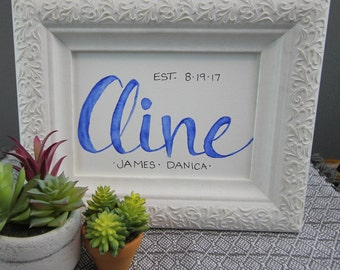 5x7-Hand Lettering-Personalized Family Name-Handmade Watercolor Print
