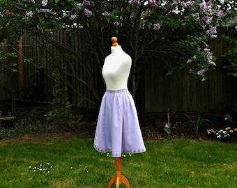 50s Style Skirt, Cotton Skirt, Embroidered, Purple Linen, Knee Length Skirt, Skirt, 50s Skirt, 50s, Vintage, Floral Skirt, Size 6