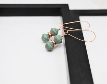 Turquoise Earrings, Teal Earrings, Gift for Her, Czech Glass, Beaded Earrings, Copper Earrings, Drop Earrings, Copper Jewelry, Long Earrings
