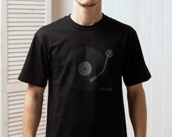 DJ T Shirt - Keep It Vinyl Minimalist Bass Deck Decks Turntable LP Drum and Bass Old School Hip Hop Screen Printed Tee or Tank Top Vest Cami