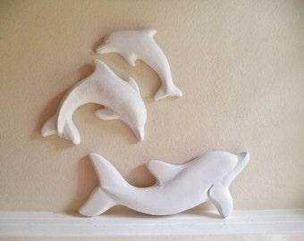Dolphin wall decor, wall hanging dolphin sculptures, beach house decor, bathroom wall decor