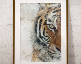 Tiger Watercolor Painting Printable Art, Tiger Poster, Animal Painting, Wild Animal Print, Instant Download, Wall Art, Watercolor Painting