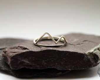Misty Mountains Sterling Silver Rings - stacking rings, hammered, silver bands, oxidised, mountains, landscape, stackable rings, statement