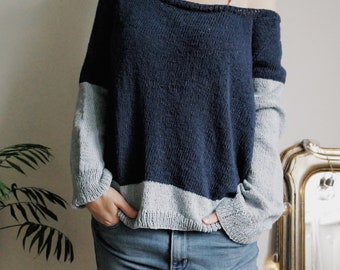 Blue and Cloud Summer Crunchy Leaves Sweater, Summer Sweater, top down pullover, oversized minimal knitwear