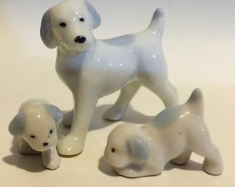 Set of Vintage Beagle Porcelain Dog Figurines Mama and Two Puppies Made in Japan in the 1950s