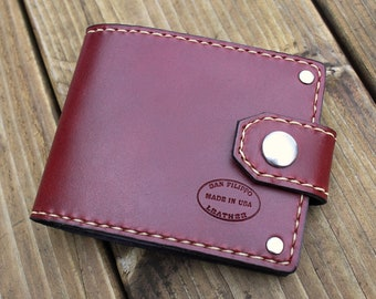 Mens Leather Wallet, Oxblood Bifold with Snap Closure, Custom Leather Menswear, Personalized Wallet, Monogrammed Gift For Men