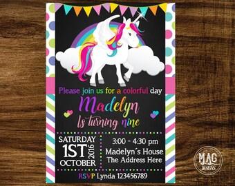 Unicorn invitation, Unicorn Birthday Invitation, Rainbow Unicorn Birthday Invitation, Rainbow Invitation. Digital File