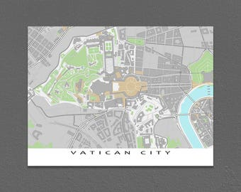 Vatican City, Vatican Map Art Print, Rome Italy Travel Print
