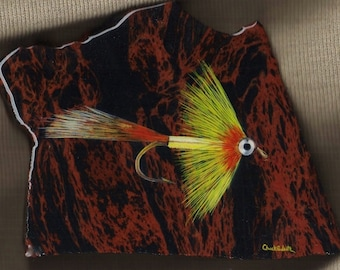 Comet fly painting Obsidian fly fishing art fishing art