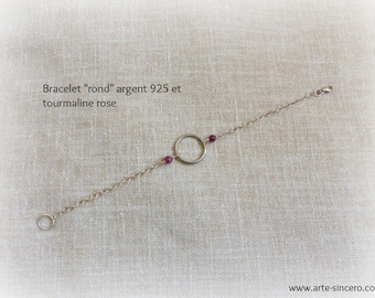 """Round"" bracelet 925 sterling silver and pink tourmalines"