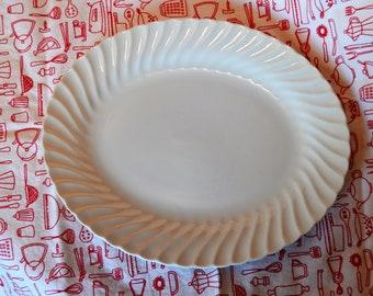 "Vintage Sheffield Bone White Oval Platter, 11.5"", Earthenware, USA"