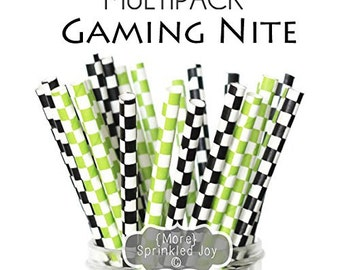 GAMING NITE Paper Straws, Multipack, Green, Black, Blocks, Squares, Block, Checks, Xbox, Video Games, Minecraft, Party, Boy,