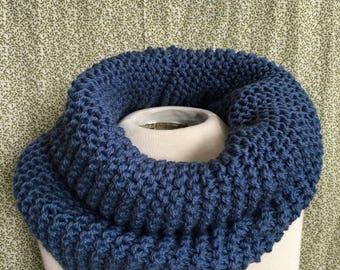 Denim Blue Cowl / 100% Wool
