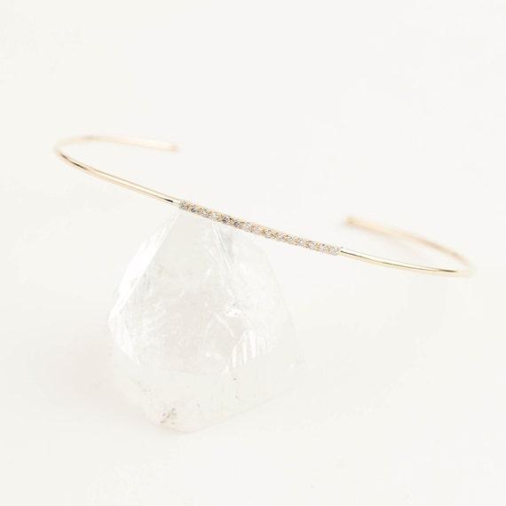 14k gold diamond bangle thin diamond bangle cuff bracelet