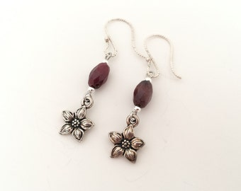 Flower earrings, long dangle earrings. Pink burgundy stone bead earrings.  Dark pink stone bead earrings.  Antique silver drop earings.