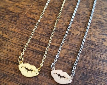 Kiss these Lips  Brass Necklace