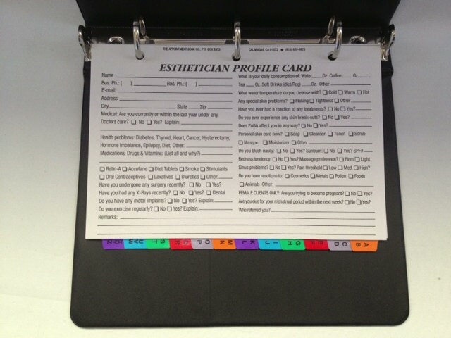 Esthetician Client Profile Binder With 100 Profile Cards A