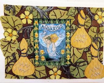 Fine Art Greeting Card: OOAK Zodiac Montage 'Aquarius'