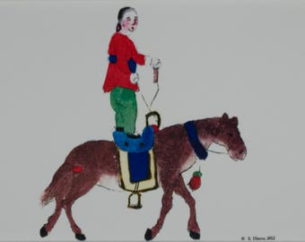 Chinese Circus Acrobat Horse Act; Standing on the saddle photograph