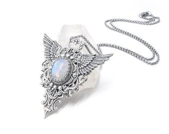 Swift Flight Rainbow Moonstone Necklace - Winged Necklace, Moonstone Necklace, Silver Wing Necklace, Gift for men, Gift for women, Skyward