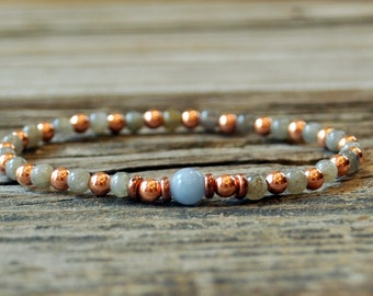 Angelite Bracelet, Labradorite Bracelet, Mala Bracelet, Yoga Bracelet, Healing, Meditation Bracelet, Energy Bracelet, Copper, Telepathic