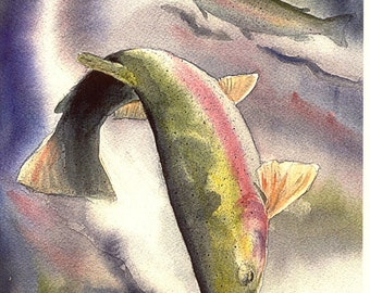 Rainbow Trout Fly Fishing Watercolor fish art print Cottage Lake House Decor Fisherman Gift by Barry Singer