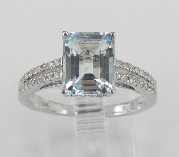 14k White Gold Diamond and Emerald Cut Aquamarine Engagement Aqua Ring Size 7 March
