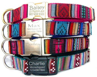 Personalized ID dog collar Engraved metal buckle pet ID tag dog collar Tribal Boho Aztec embroidered dog collar Christmas dog collar gift