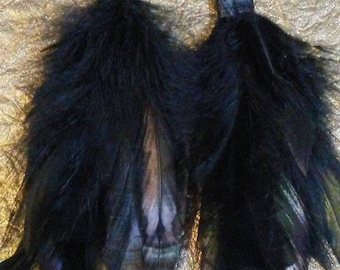 Black and Green Feather earrings