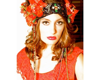 "Custom/ Bespoke/ Made to Order Headdress ""RED"" by The House of Kat Swank"