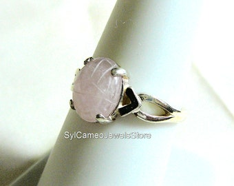 Rose Quartz Scarab Midi Sterling Silver Ring Jewelry SylCameoJewelsStore