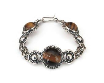 Israel Sterling Tigers Eye Bracelet - Sterling Silver, Israel 925, Artisan Bracelet, Boho Jewelry, Ethnic Jewelry, Vintage Bracelet