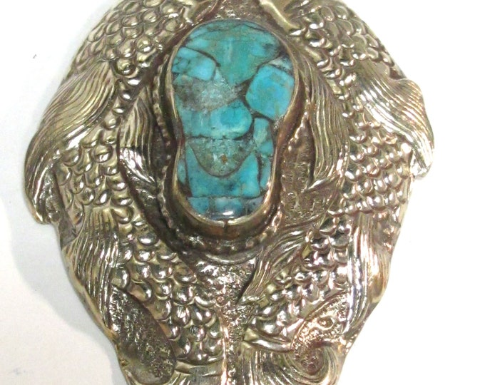 OOAK Extra Large Tibetan Silver finish repousse double fish carving  pendant with turquoise inlay  - PM449L