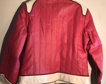 Rare woman's Leather Man motorcycle biker racer pink leather jacket sz L