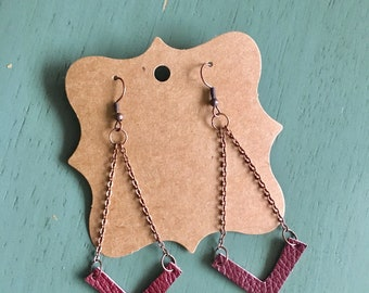 Bronze and Leather Drop Earrings