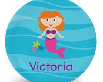 Personalized Mermaid Plate for Kids - You Choose Hair, Skin, Eye Color - Personalized Melamine Plate (Plastic) - Custom Tableware for Kids