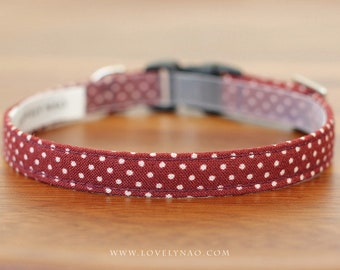 Lovely Dots Cat Collar – Wine Red (Burgundy)