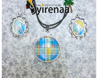 Ornament pendant and earrings madras