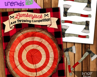 Pin the Axe Lumberjack Game, Lumberjack Party, Axe Throwing Game, Printable Party Game, Camping Game, 16x20 & 8x10, INSTANT DOWNLOAD