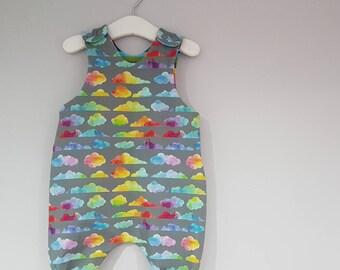 Rainbow clouds Harem Dungarees, cloth friendly, babywearing friendly, rainbow baby, handmade, newborn gift, rainbows, prem to 4y
