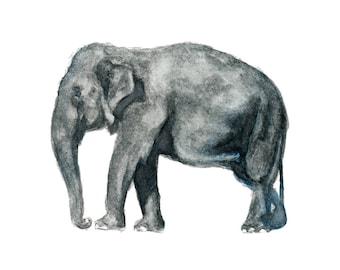 Watercolor Elephant Print, Elephant Art Print