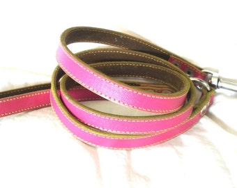 Cool leather Dog Leash Lead Hot Pink