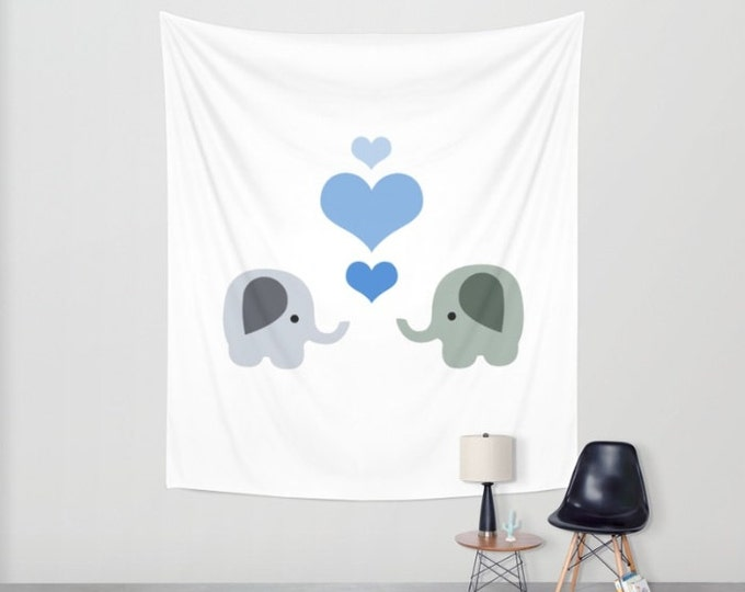 Nursery Hanging Tapestry - Wall Tapestry - Elephants with Blue Hearts - Large Wall Hanging - 3 Sizes Available - Home Decor - Made to Order
