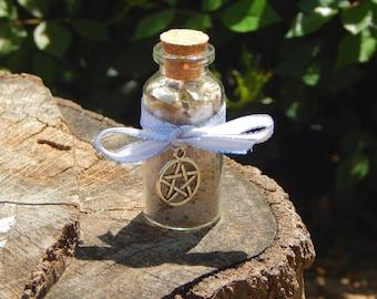 PROTECTION Salt blend in Pentacle embellished glass bottle - Astrelle's personal & home clearing, negativity banishing herbal salt blend