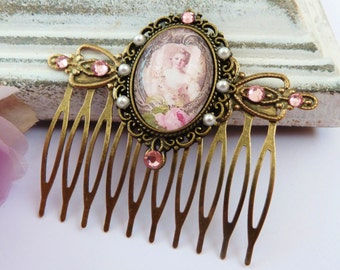 Noble Baroque hair comb in pink bronze, antique hair comb, hair comb Rococo, girls hair comb, ornate, rhinestone hair comb, pearl hair comb
